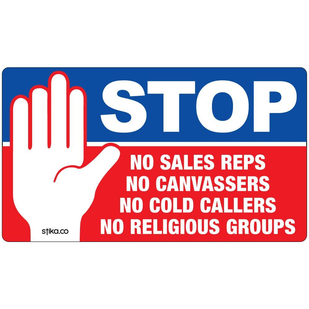 Stop cold calling door window sticker no religious for Door to door sales