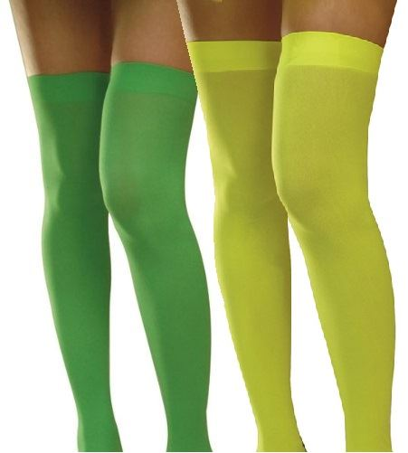 Neon-Green-or-Yellow-70s-Thigh-High-Hold-Ups-1970s-Hold-up-Stockings