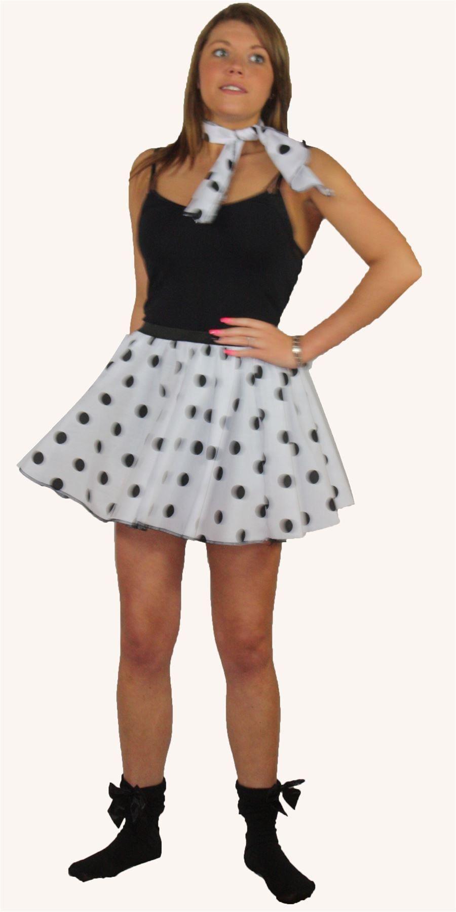 Rock N Roll Skirt & Scarf Set 1950s 1960s White & Black ...