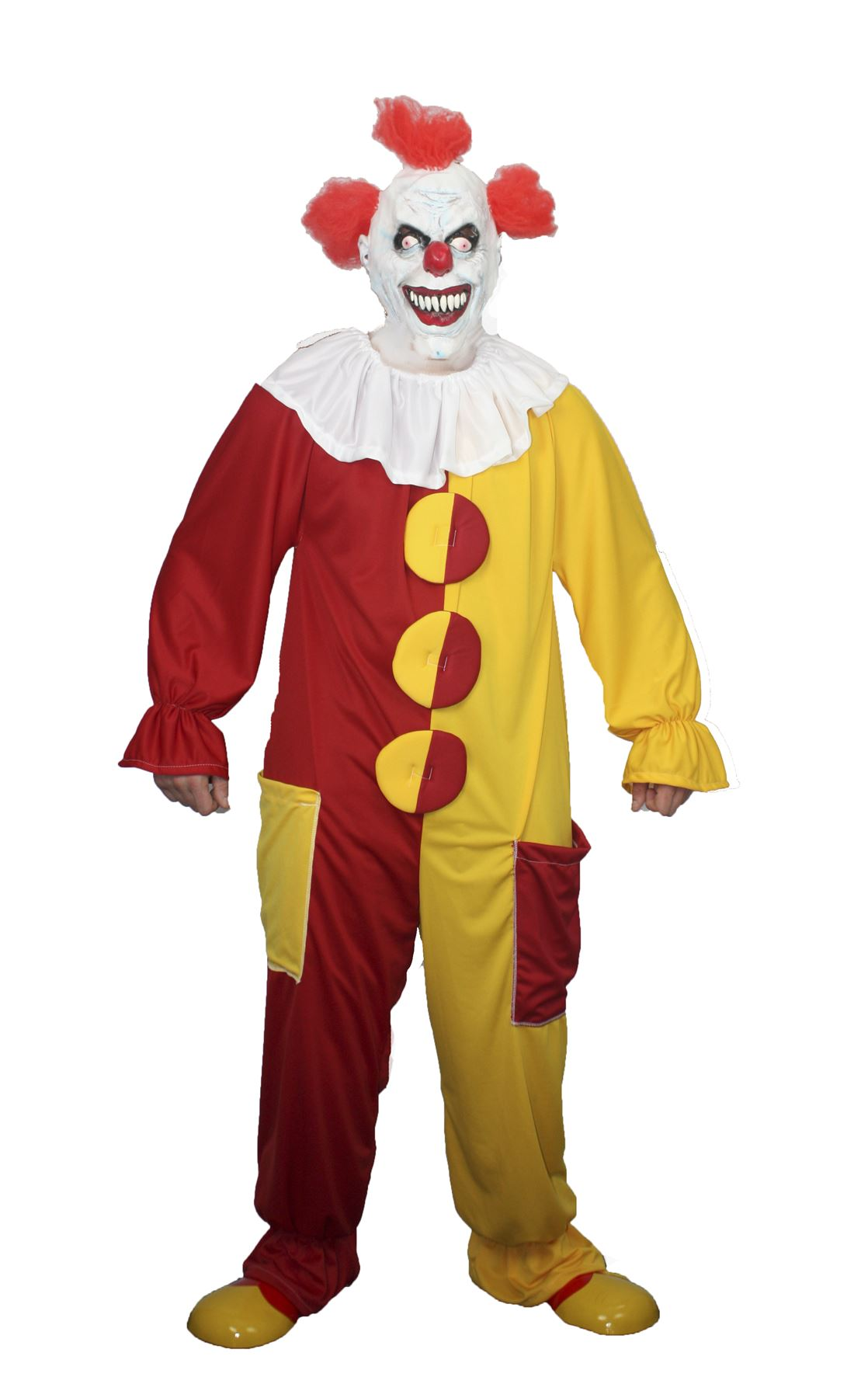 it scary clown red yellow outfit costume halloween fancy dress no mask inc ebay. Black Bedroom Furniture Sets. Home Design Ideas