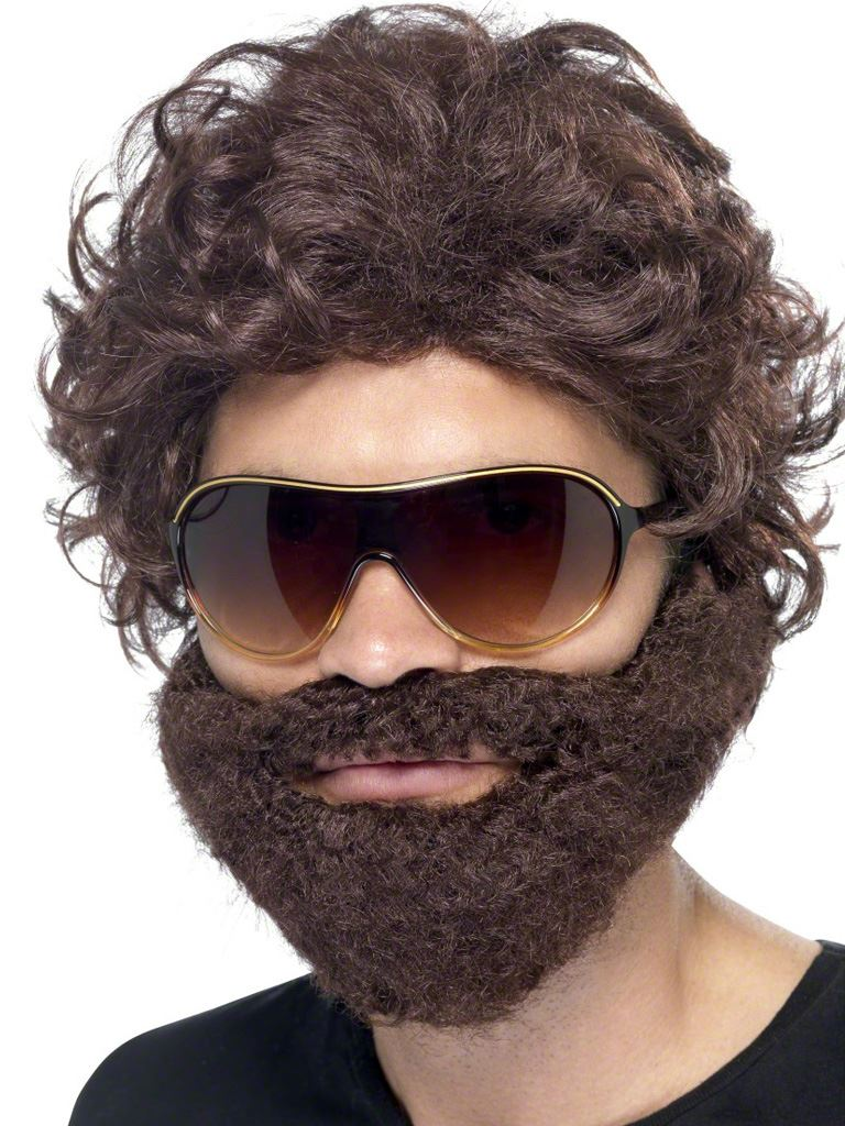 smiffys brown synthetic curly alan the hangover wig glasses beard stag do kit ebay. Black Bedroom Furniture Sets. Home Design Ideas