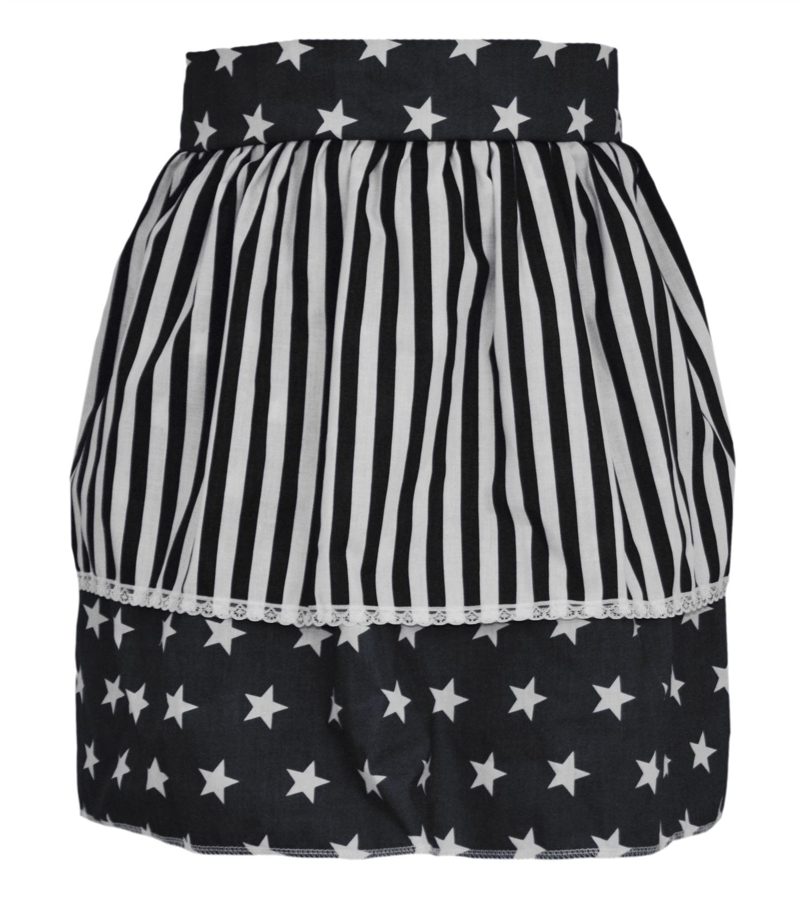 White apron fancy dress - Ladies Black Star Pinafore With White Stripe 50 S Apron Fancy Dress One Size