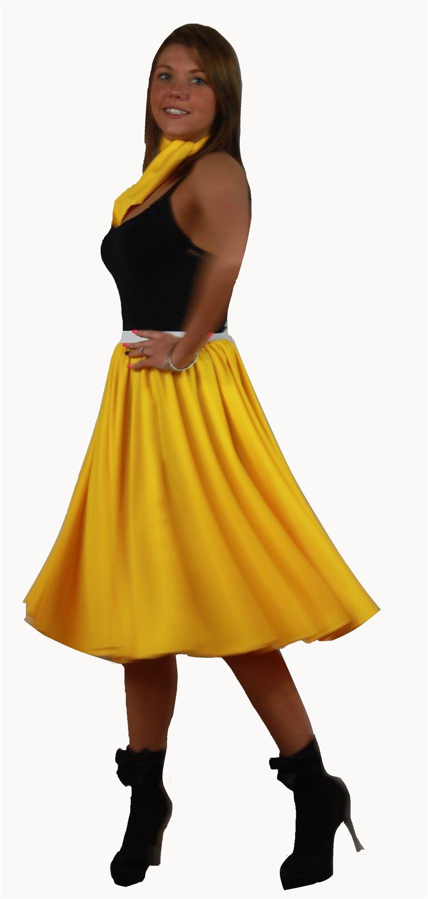 Rock N Roll Skirt & Scarf Set 1950s 1960s Yellow Fancy ...
