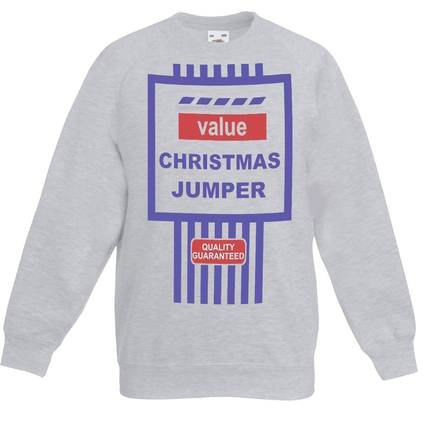 Funny-Grey-Tesco-039-s-Value-Christmas-Jumper-Tesco-Bargain-Sweatshirt
