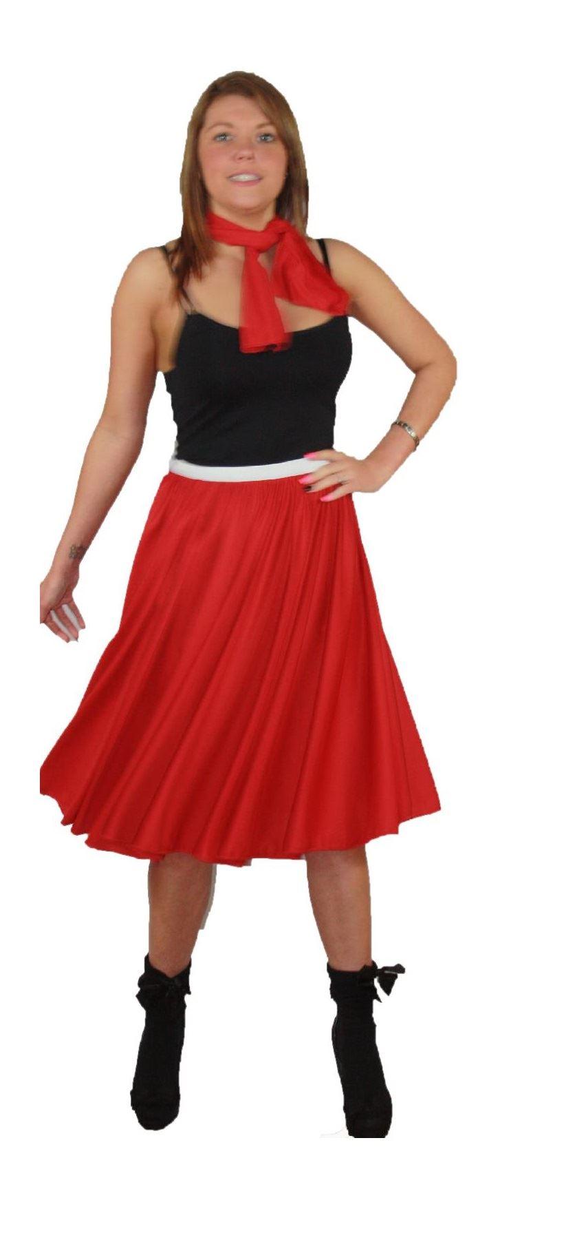 Rock N Roll Skirt & Scarf Set 1950s 1960s Red Fancy Dress ...