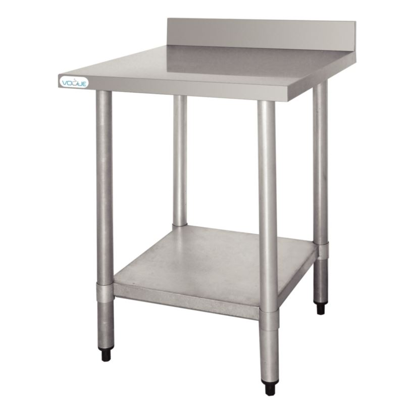 Vogue stainless steel prep table with upstand 900x900x600mm commercial