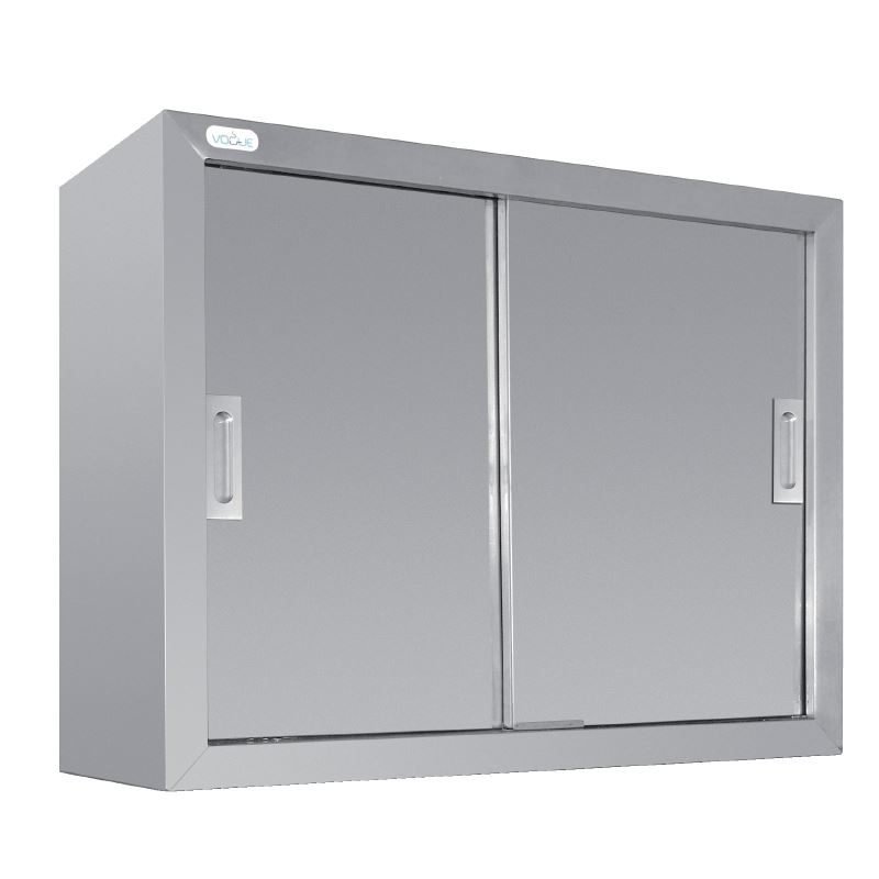Stainless Steel Wall Cupboard Sliding Doors Kitchen Storage Cabinet