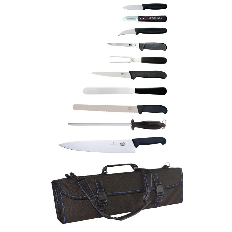 Victorinox 11 piece knife set and wallet stainless steel for Steel kitchen set