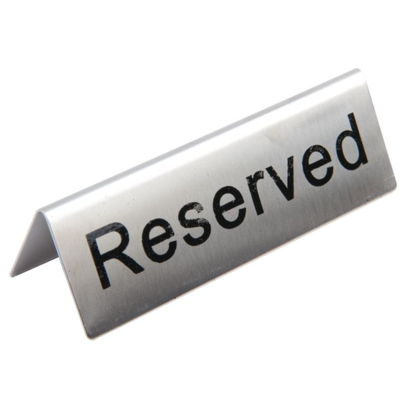 Stainless Steel Reserved Table Sign: 10X Olympia Stainless Steel Table Sign Reserved Restaurant