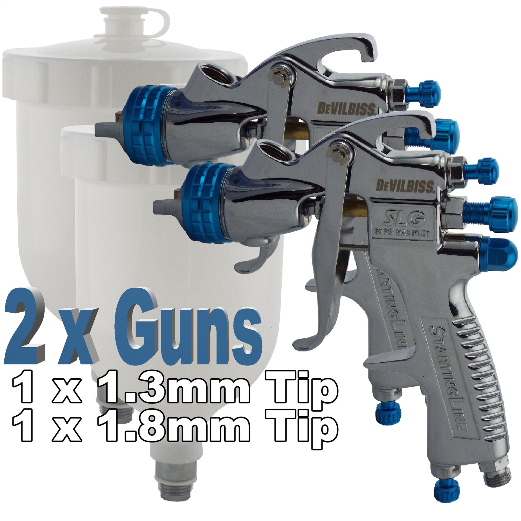 2 x devilbiss slg 620 compliant spray gun gravity feed paint primers ebay. Black Bedroom Furniture Sets. Home Design Ideas