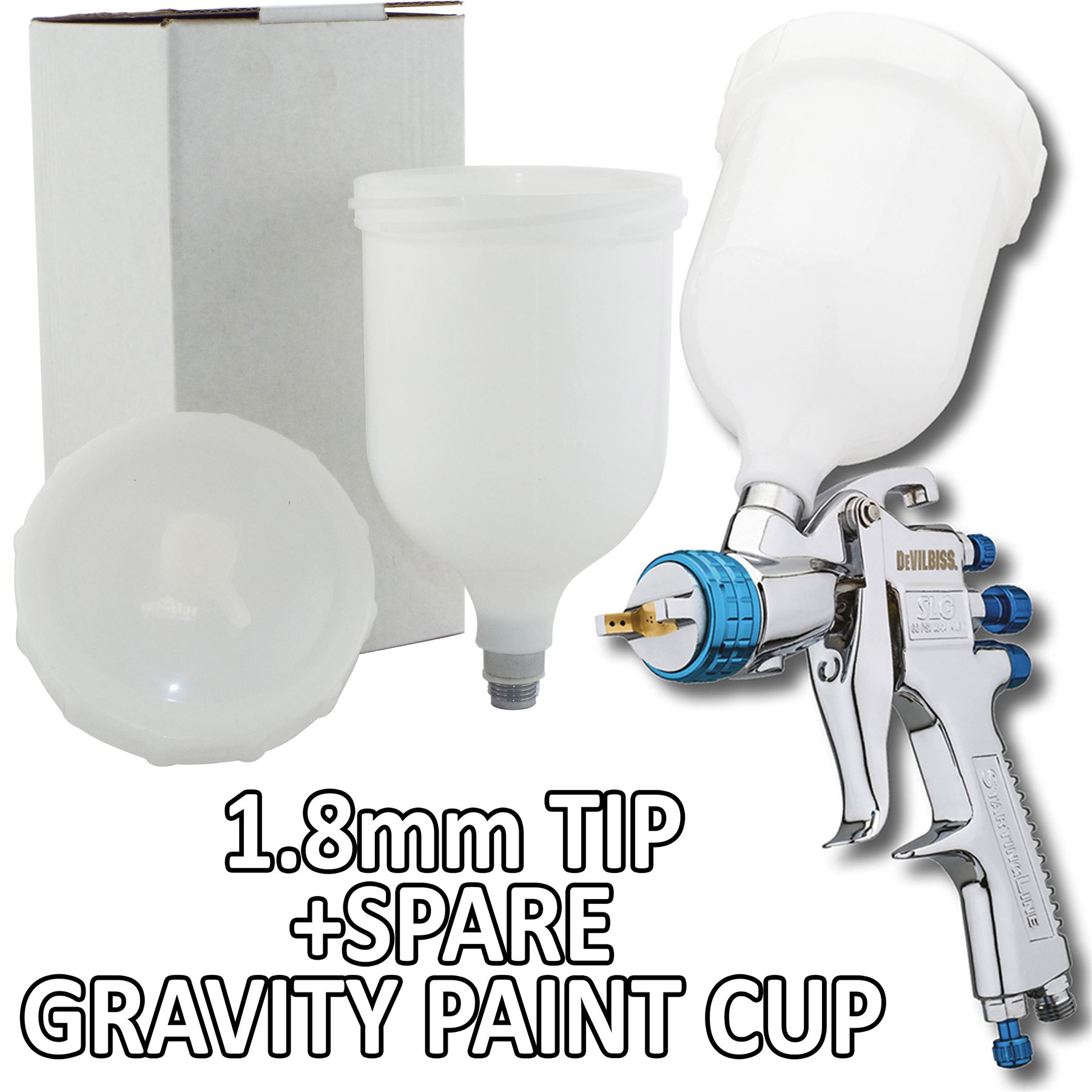 devilbiss slg 620 spray gun gravity feed solvent paint primer spare cup ebay. Black Bedroom Furniture Sets. Home Design Ideas