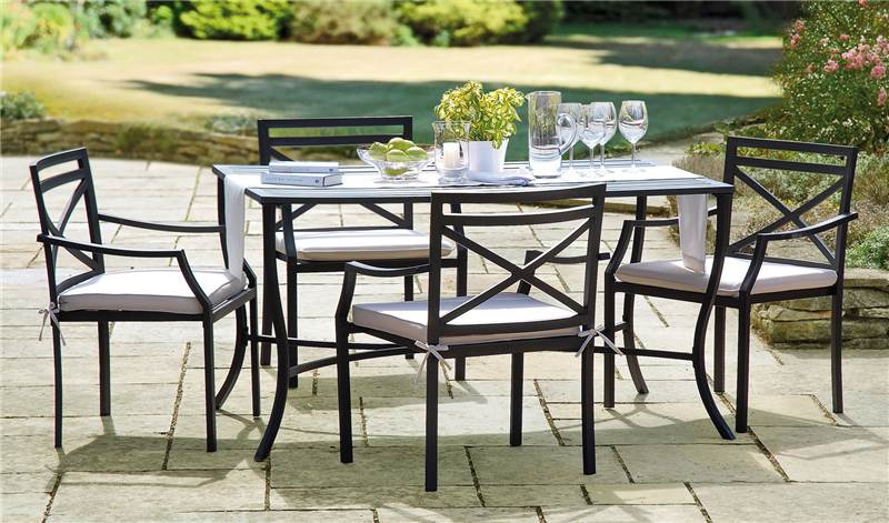 Greenhurst Metal Garden Dining Table And 4 Chairs Set And Cushions New EBay