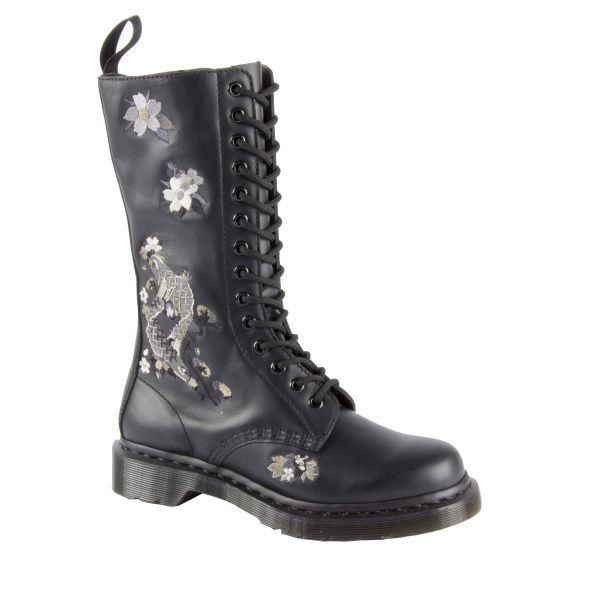 dr martens anissa vonda embroidered black mid calf softy leather boots ebay. Black Bedroom Furniture Sets. Home Design Ideas