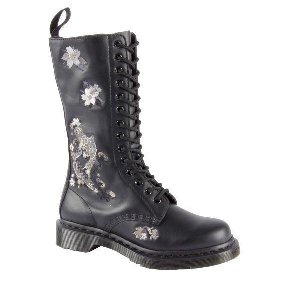 dr martens anissa vonda embroidered black mid calf softy leather boots ebay. Black Bedroom Furniture Sets. Home Design Ideas