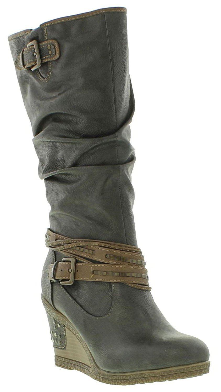 Mustang Ladies 1083-509 Tall Side Zip Wedge Western Boots ...