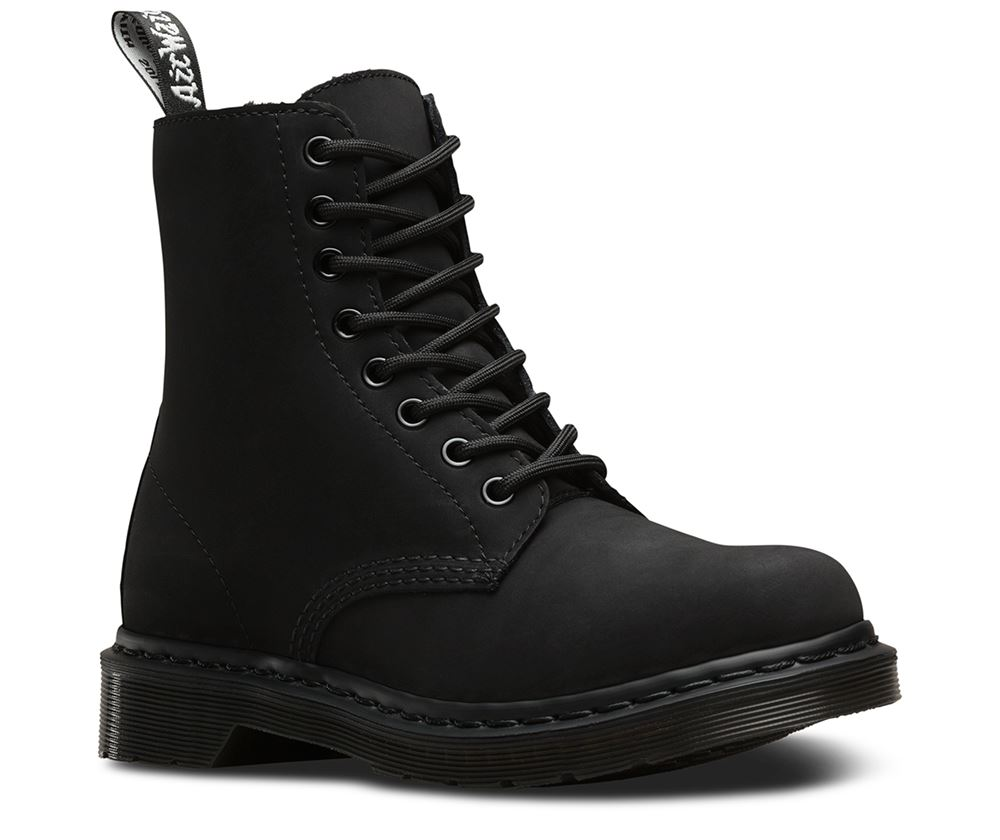 doc dr martens mono faux fur lined cascade split leather ankle 8 up boots ebay. Black Bedroom Furniture Sets. Home Design Ideas