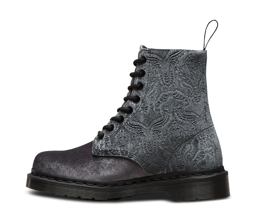 dr doc martens ladies 1460 brocade velvet embossed velvet ankle boots ebay. Black Bedroom Furniture Sets. Home Design Ideas