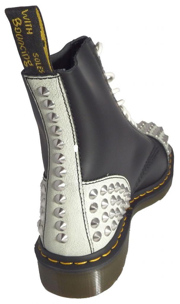 dr doc martens 1460 dai white black cristal leather boots