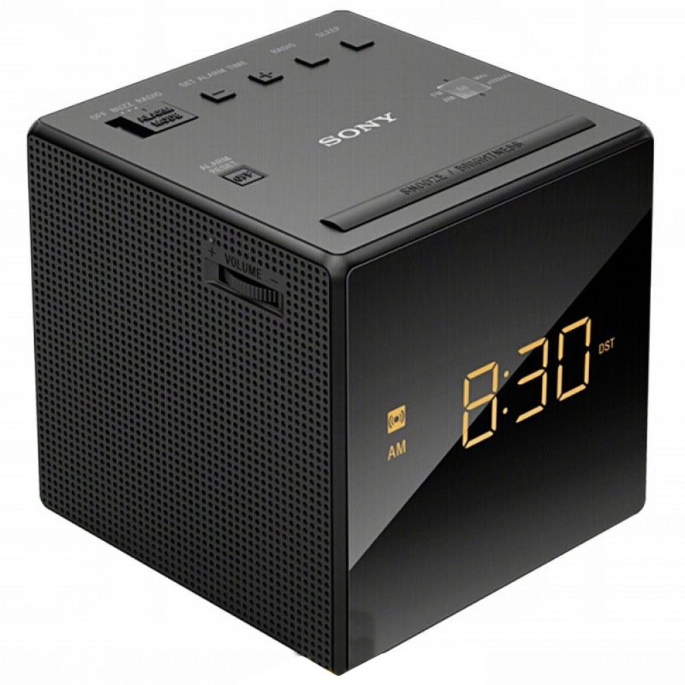 Sony ICF C1 Black FM AM Cube Clock Radio With Gradual Wake Amp Single Alarm New