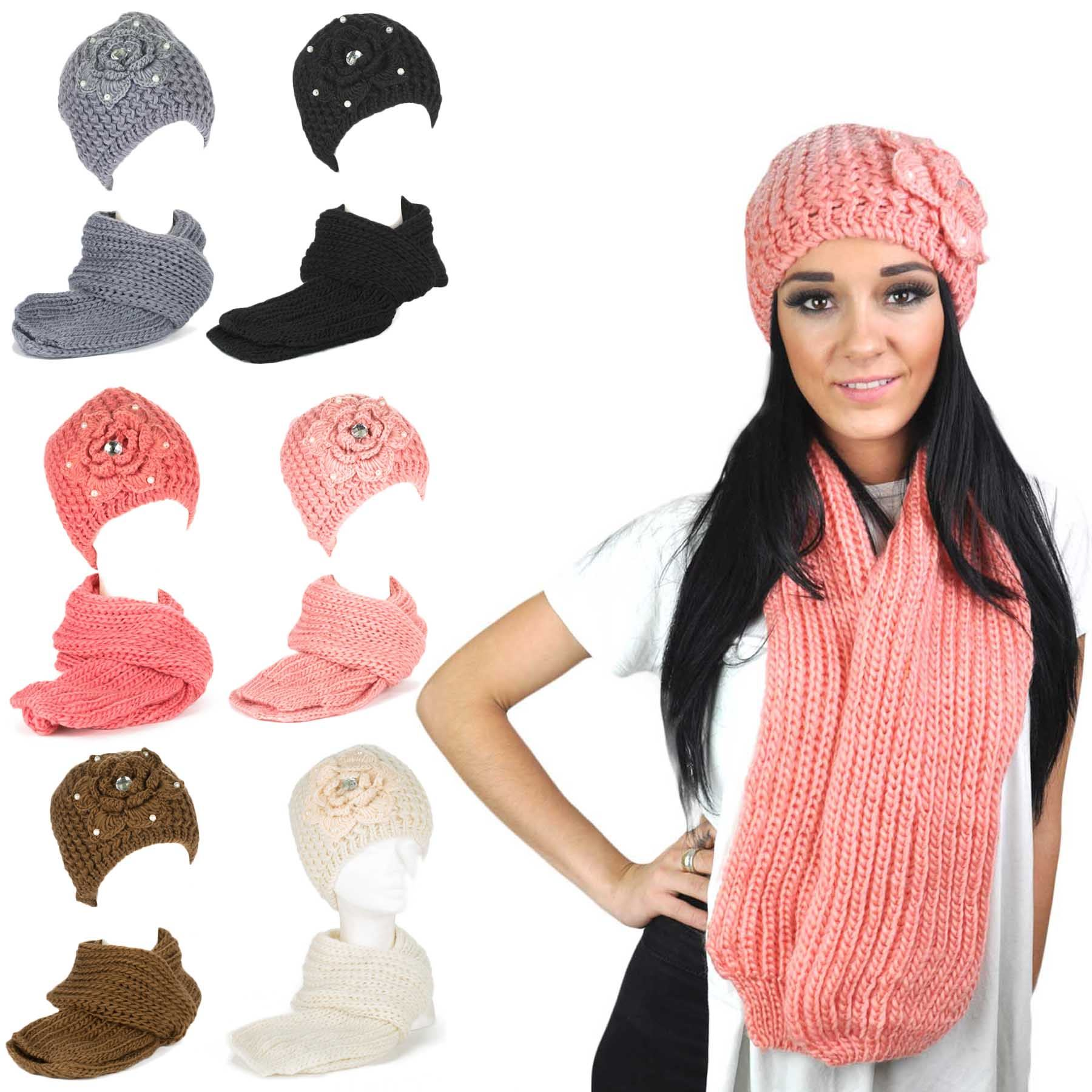 chunky knit floral warm winter knitted hat scarf