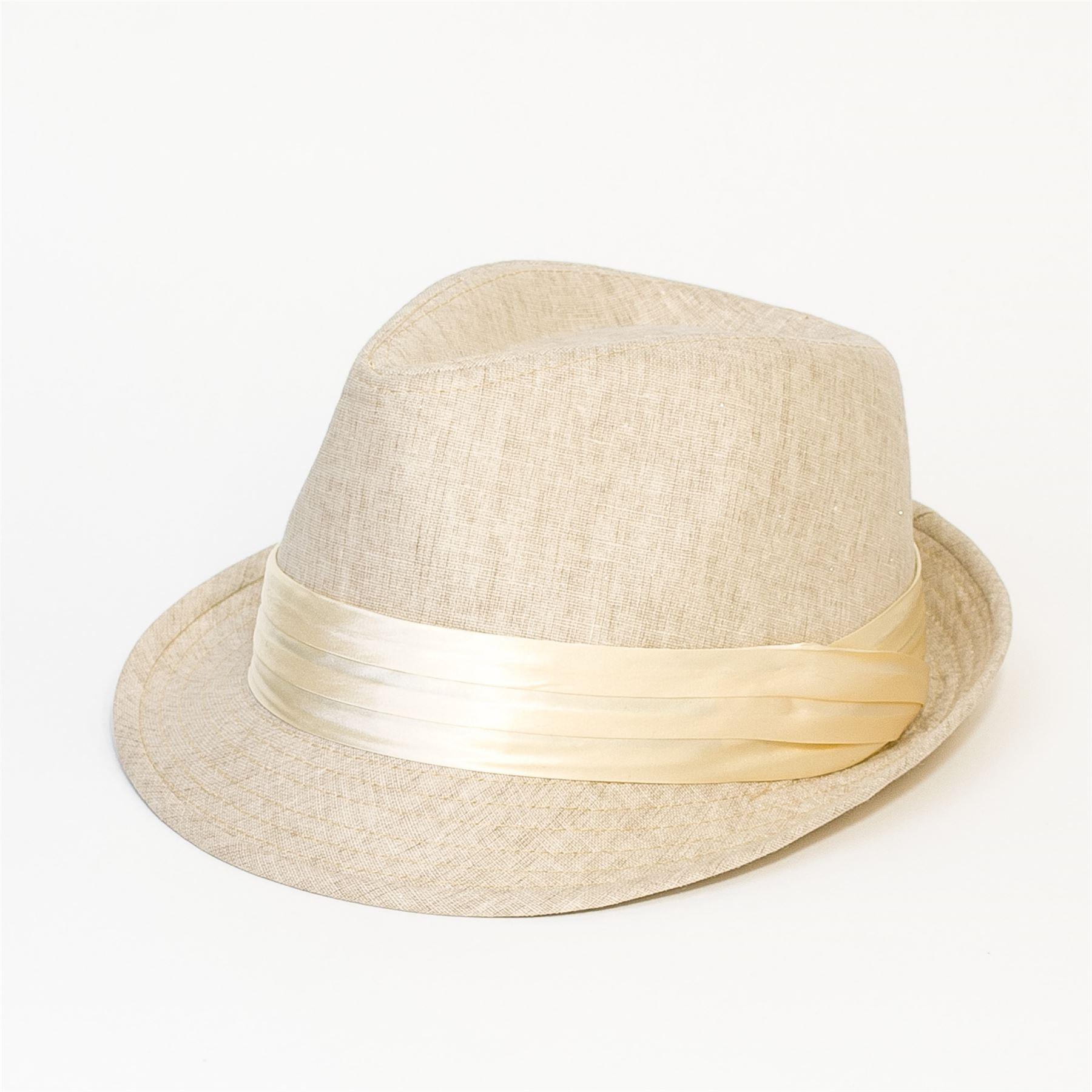 Plain Mens Women Felt Fedora Trilby Unisex Hat Cap Gun Metal Silver Band