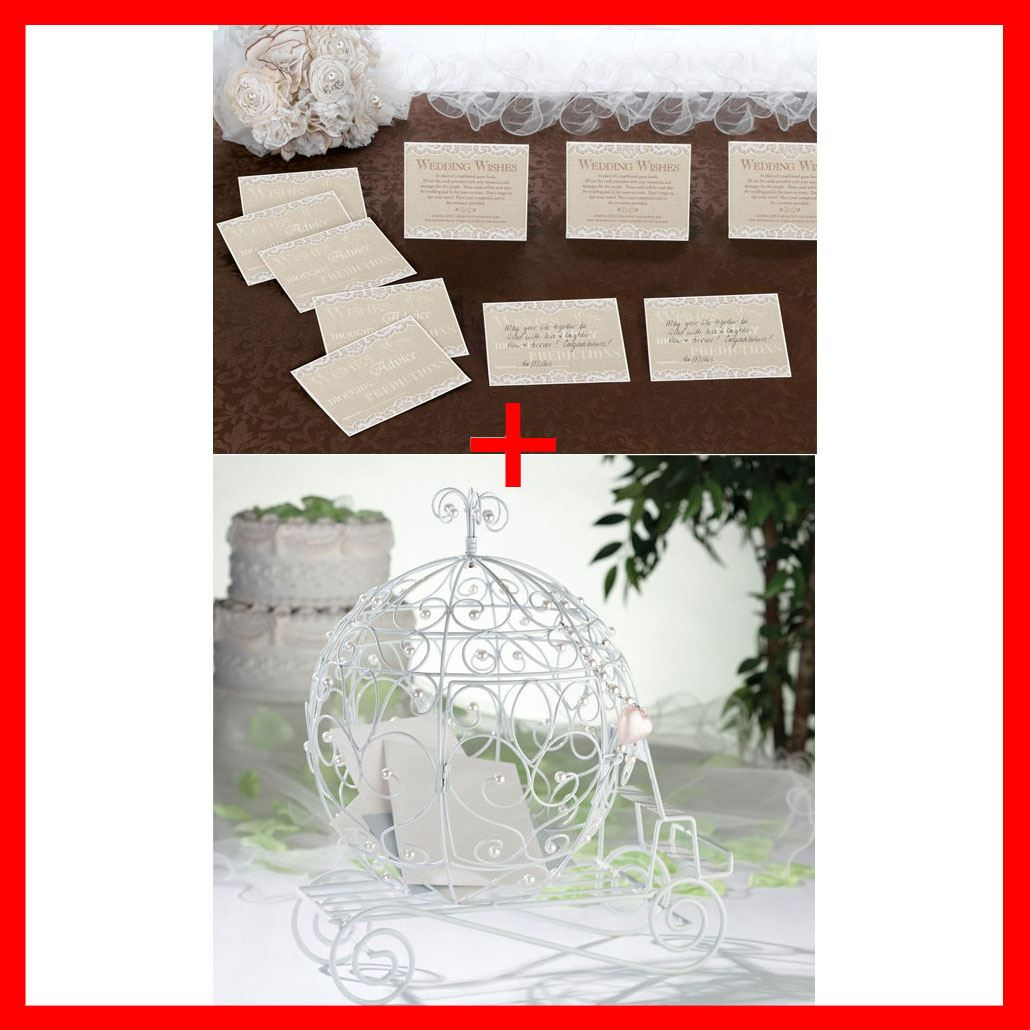 Fairy Tale Beaded Coach Wedding Party Card Holder With 48 Lace Guest ...