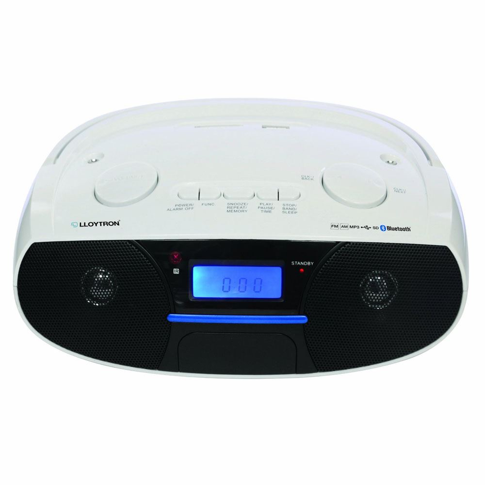 lloytron n6402wh white portable bluetooth stereo radio with mp3 alarm clock new ebay. Black Bedroom Furniture Sets. Home Design Ideas