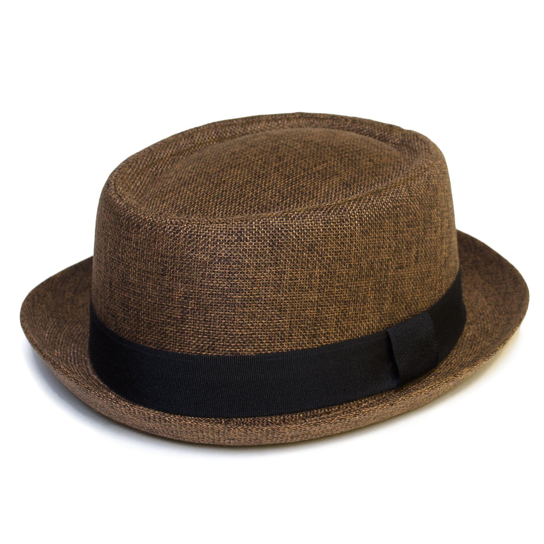 Mens Women Pork Pie Trilby Fedora Porkpie Hat Cap with ...