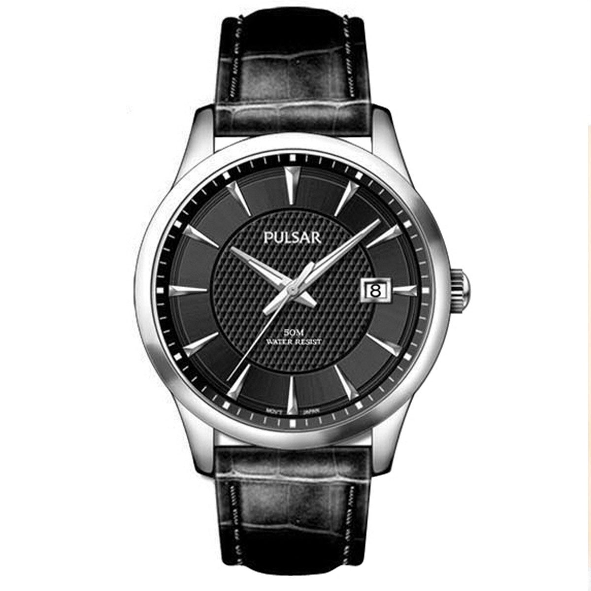 Pulsar-PS9031X1-Mens-Gents-Black-Leather-Strap-Analogue-Dress-Watch-New
