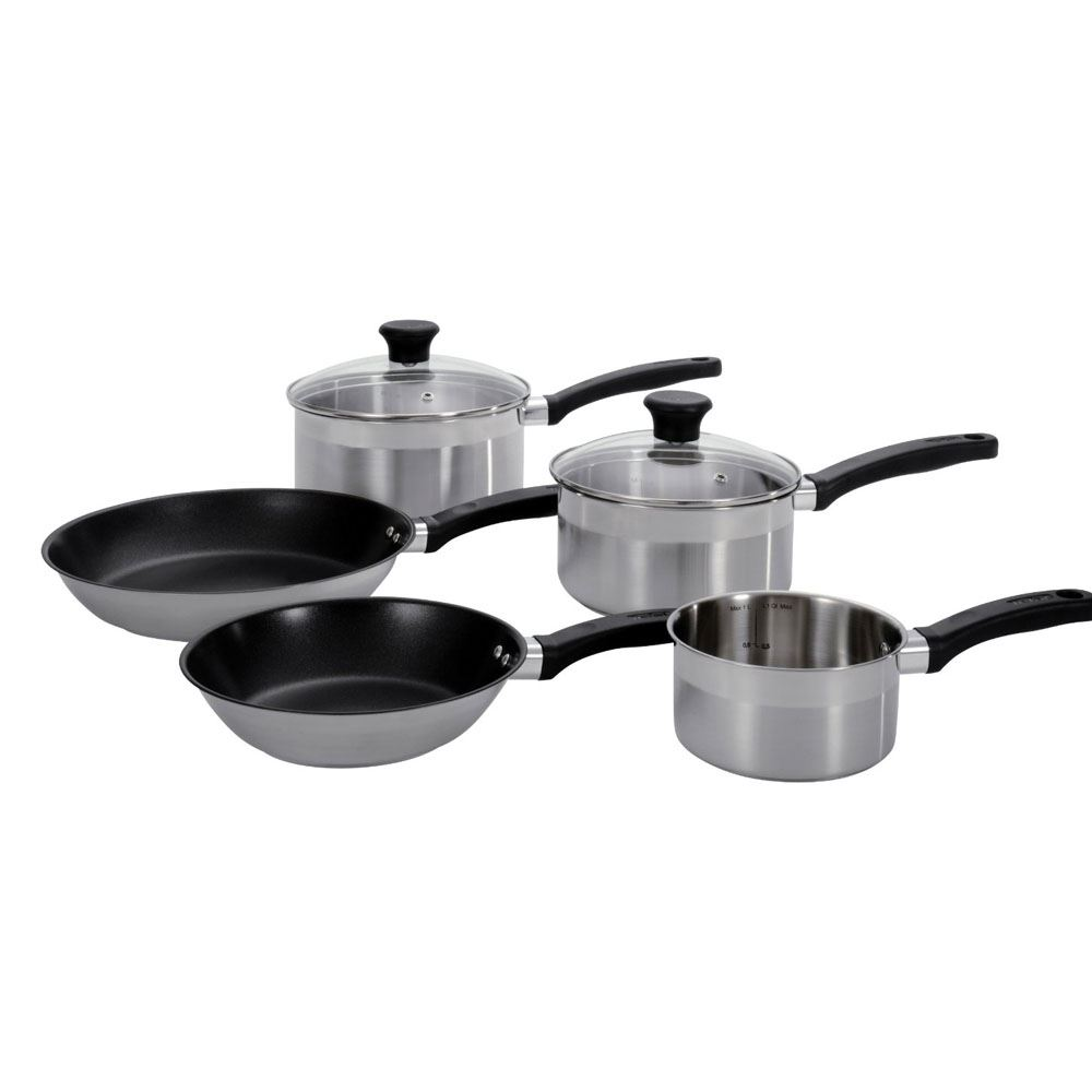 tefal a604s544 banquet 5 piece non stick stainless steel cookware pan set new ebay. Black Bedroom Furniture Sets. Home Design Ideas