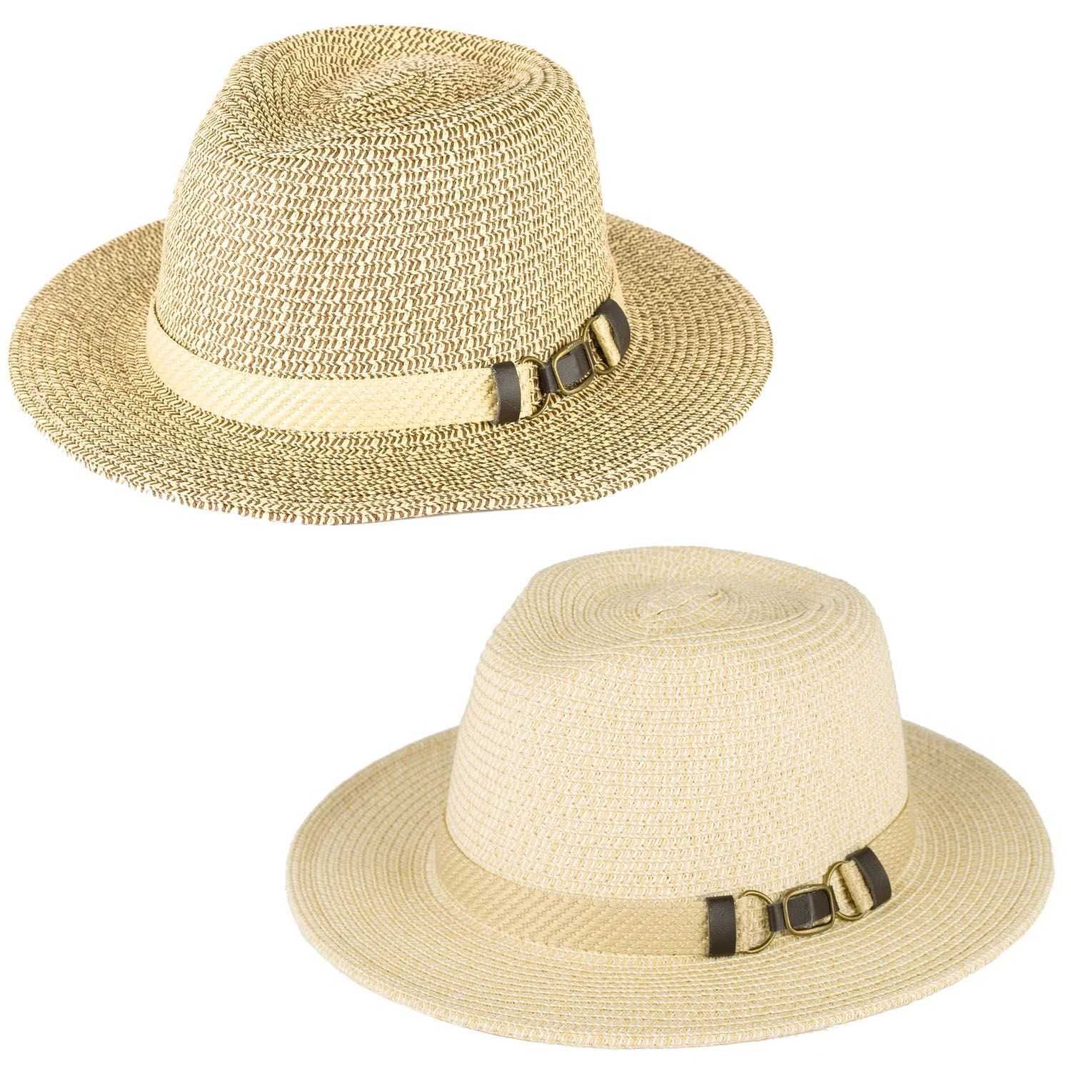 Buckle Hats: Men's Ladies Plain Woven Fedora Hat With Woven Buckle Band