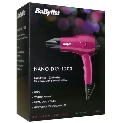 babyliss 5282bau rose 1200w mini s che cheveux nano de voyage multi tension ebay. Black Bedroom Furniture Sets. Home Design Ideas