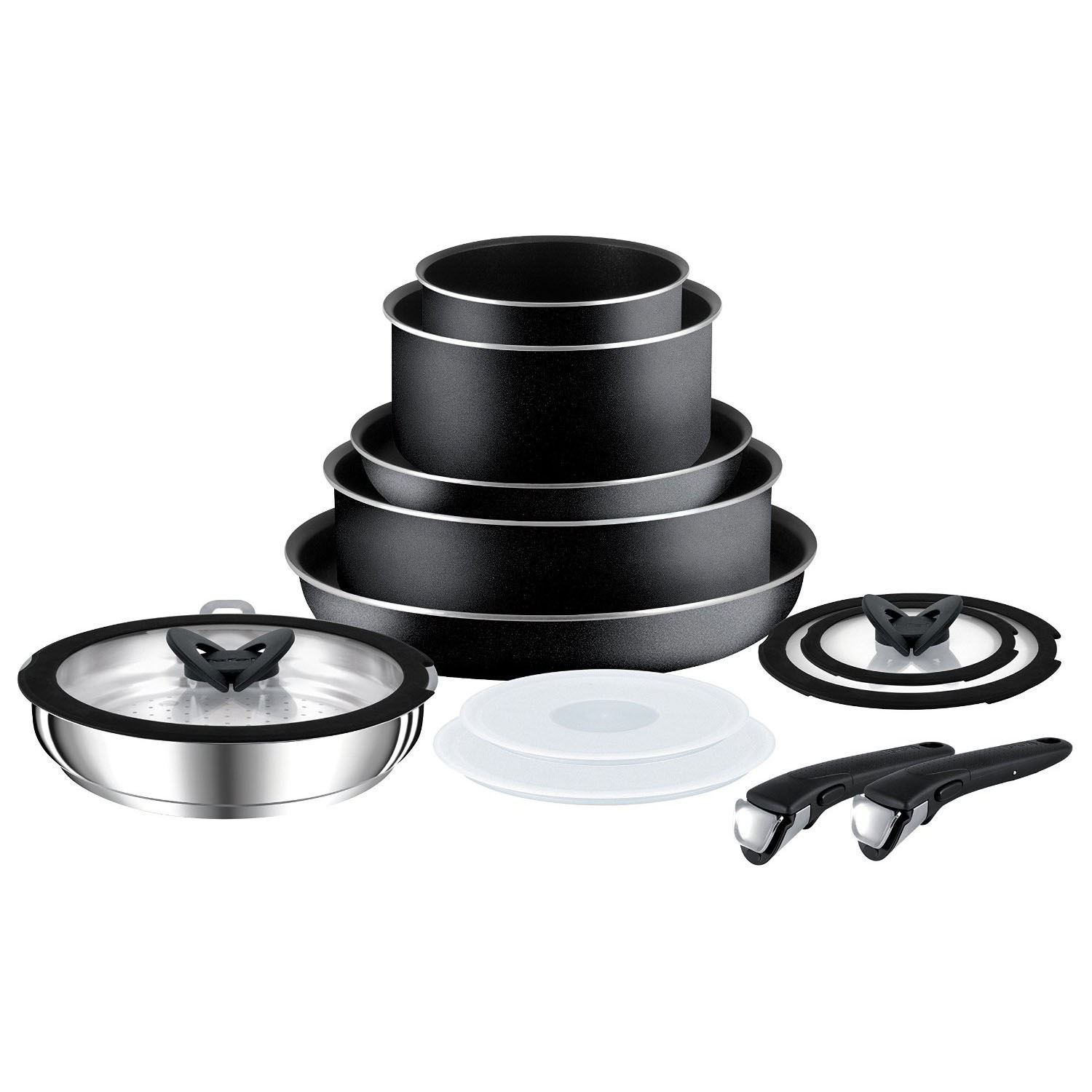 tefal l0368042 ingenio 13 piece saucepan frying fry pan cookset cookware set new ebay. Black Bedroom Furniture Sets. Home Design Ideas