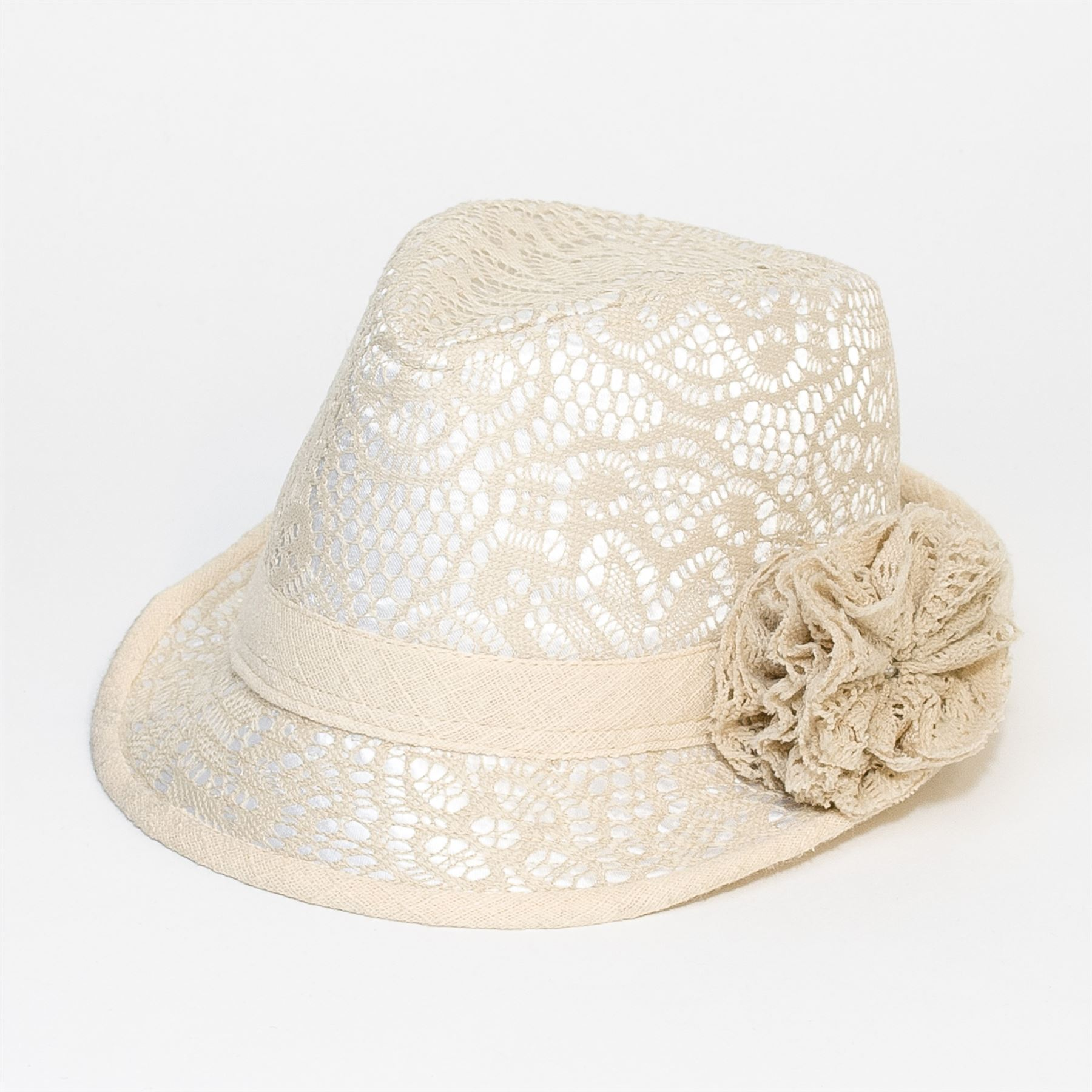 Floral Crochet Mens Women Felt Fedora Trilby Unisex Hat Cap Floral Crochet Band