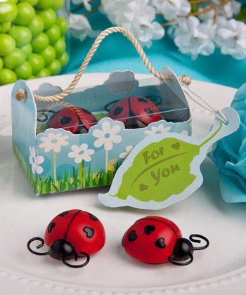 set of 6 ladybug ladybird magnet favors baby shower christening favors