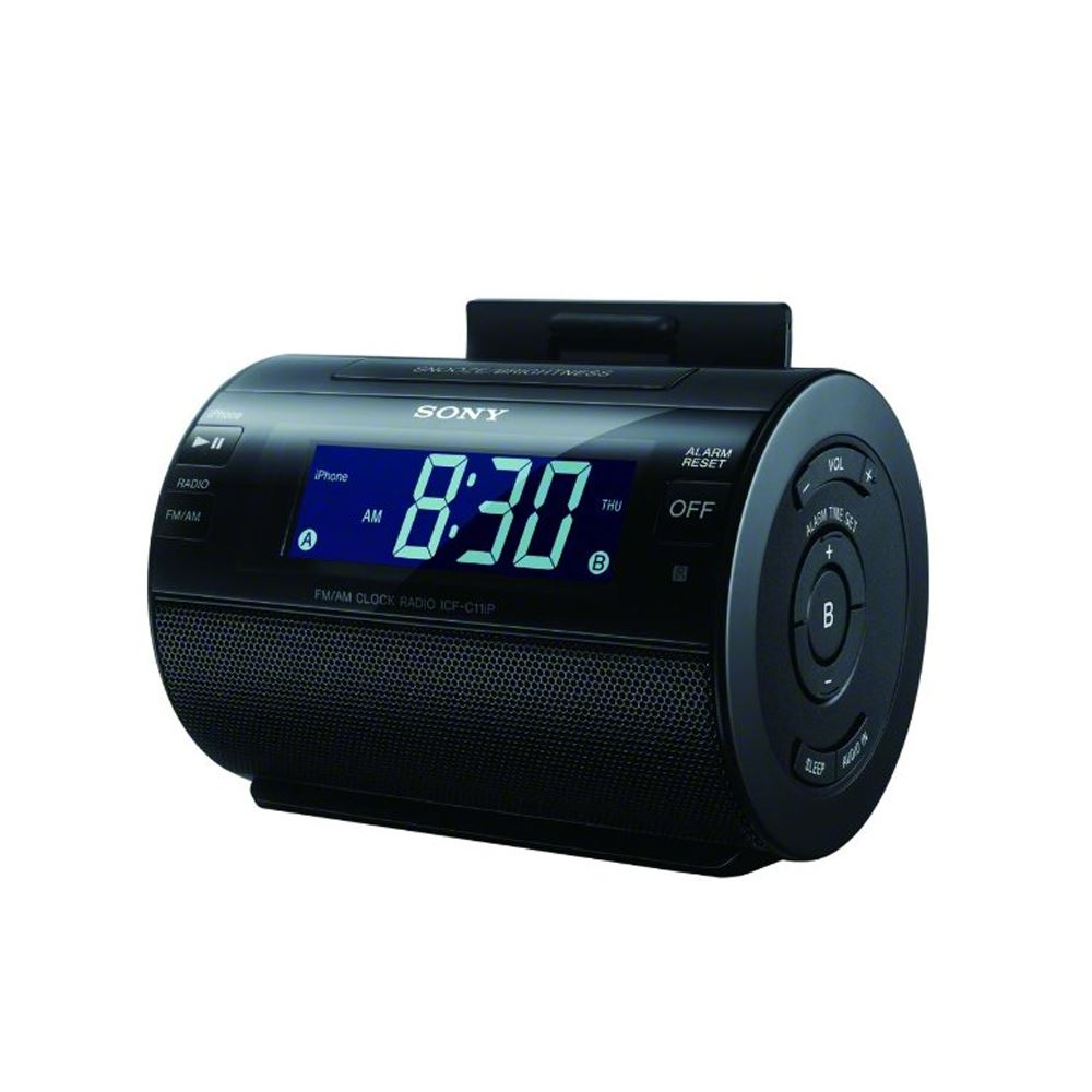 sony icf c11ipb black am fm portable alarm clock radio with ipod iphone dock. Black Bedroom Furniture Sets. Home Design Ideas