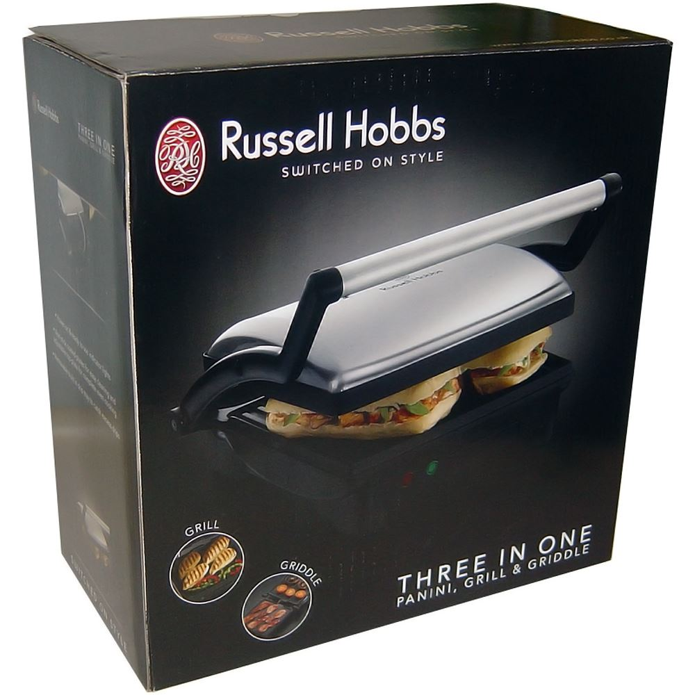 Russell hobbs glass panini press - Russell Hobbs 17888 Panini 3 In 1 Grill Griddle Sandwich Maker New