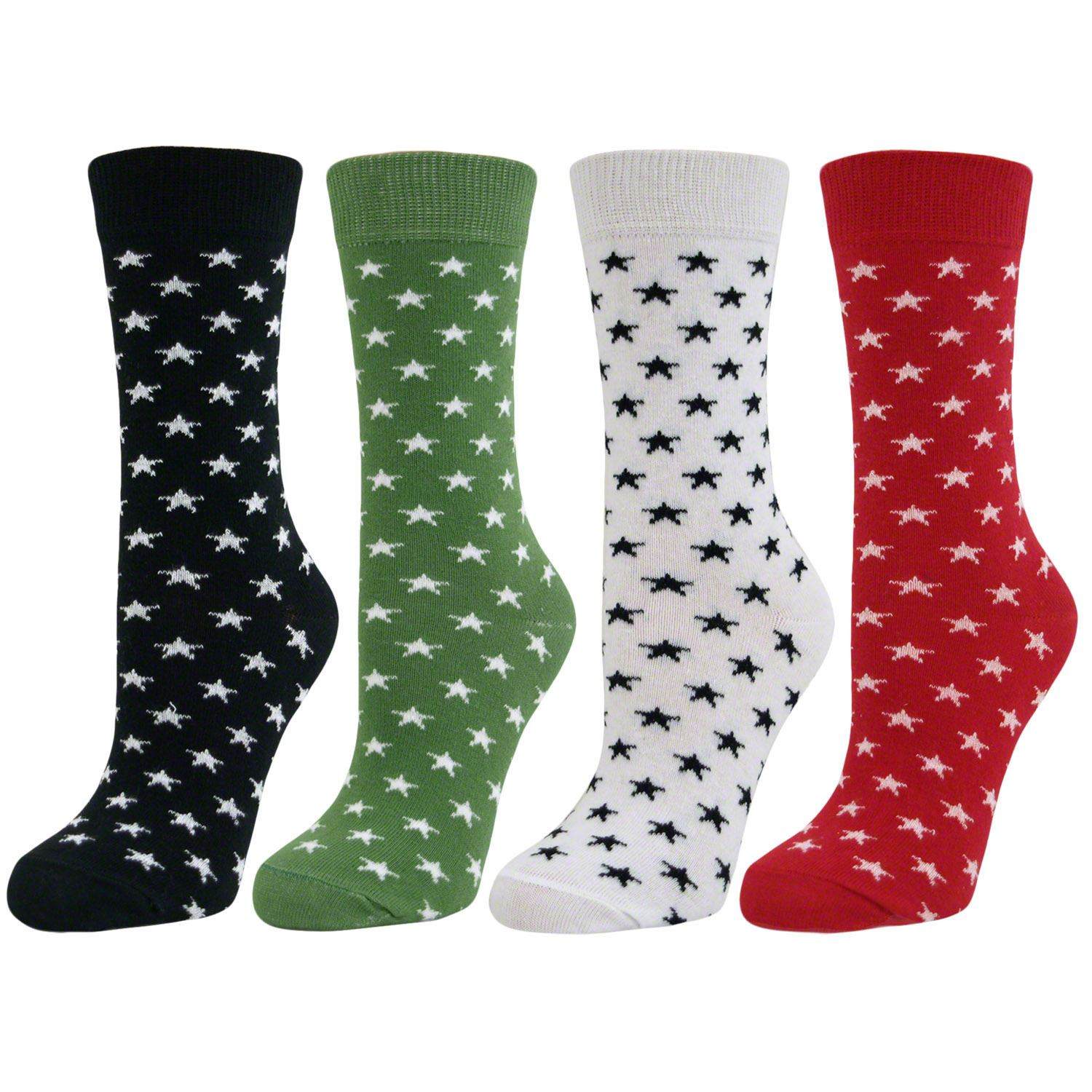 4 Pairs Womens Ladies Girls Star Pattern Mid Calf Ankle Crew Short Socks New