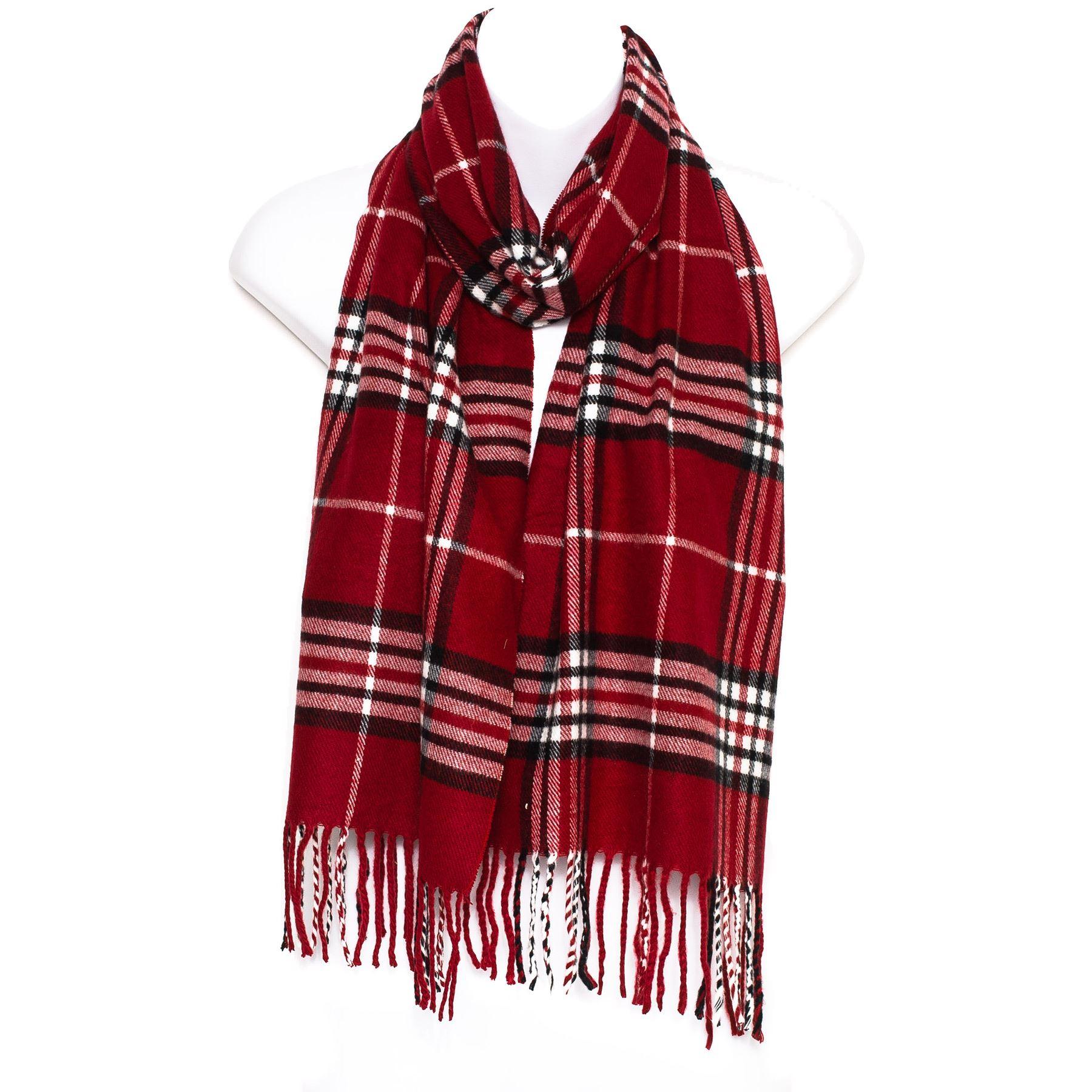 mens tartan checked neck shawl stole wrap scarf