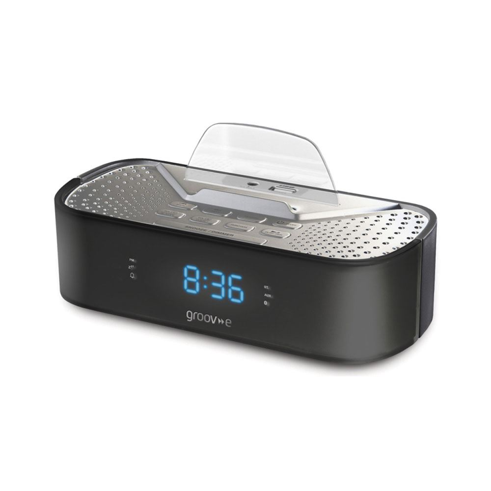 groov e black timecurve digital alarm clock radio with usb charging station new ebay. Black Bedroom Furniture Sets. Home Design Ideas