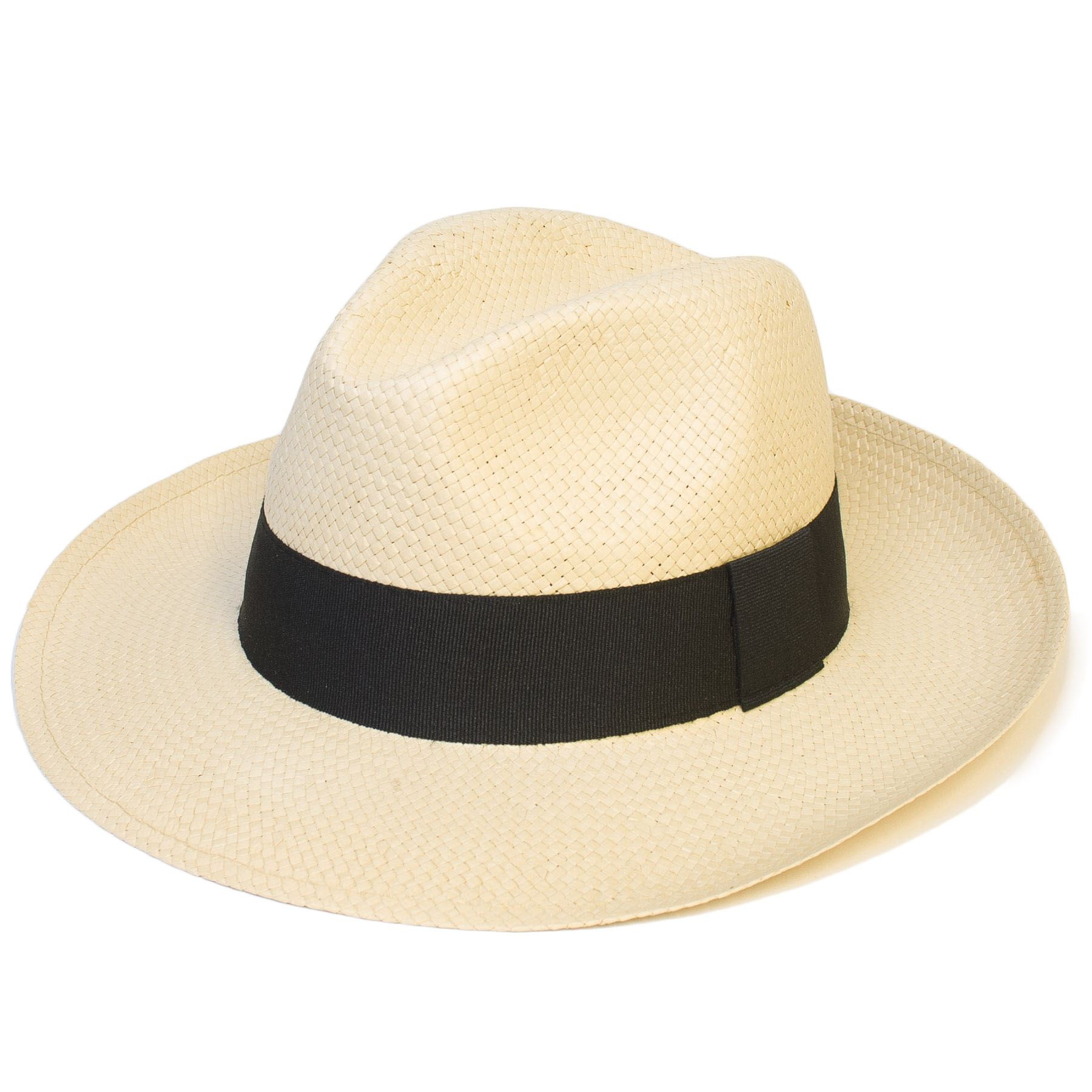 4d9ba87f95f98 Mens Women Woven Fedora Trilby Wide Brim Panama Hat Cap with Band New