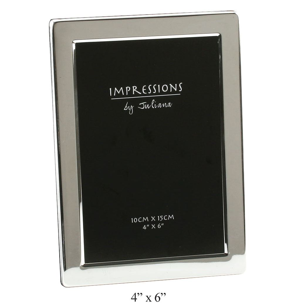 Silver Plated Flat Edge Picture Photo Frame In Size 6x4