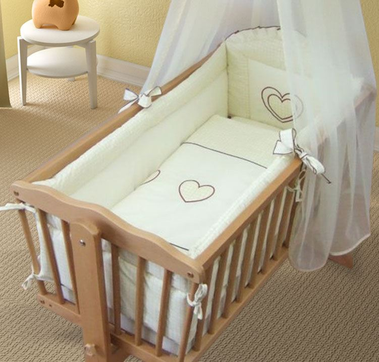 wiege rundum nestchen 260cm lang abdeckung 4 seitige mit wiege 90x40 cm herz ebay. Black Bedroom Furniture Sets. Home Design Ideas