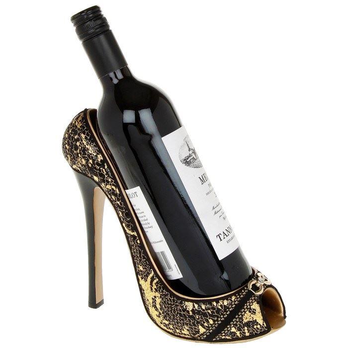 high heel shoe wine bottle holder pink glitter novelty