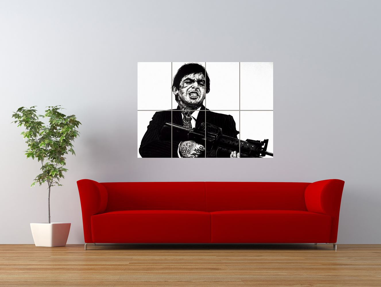 wm scarface al pacino unique tattoo icon giant art print panel poster nor0578 ebay. Black Bedroom Furniture Sets. Home Design Ideas