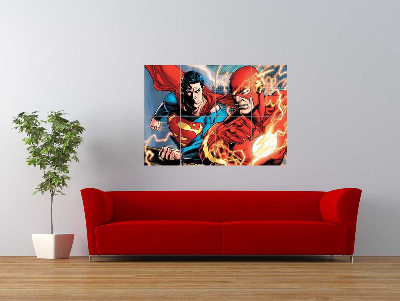 the flash vs superman comic cartoon fight giant art print panel poster nor0022 ebay. Black Bedroom Furniture Sets. Home Design Ideas