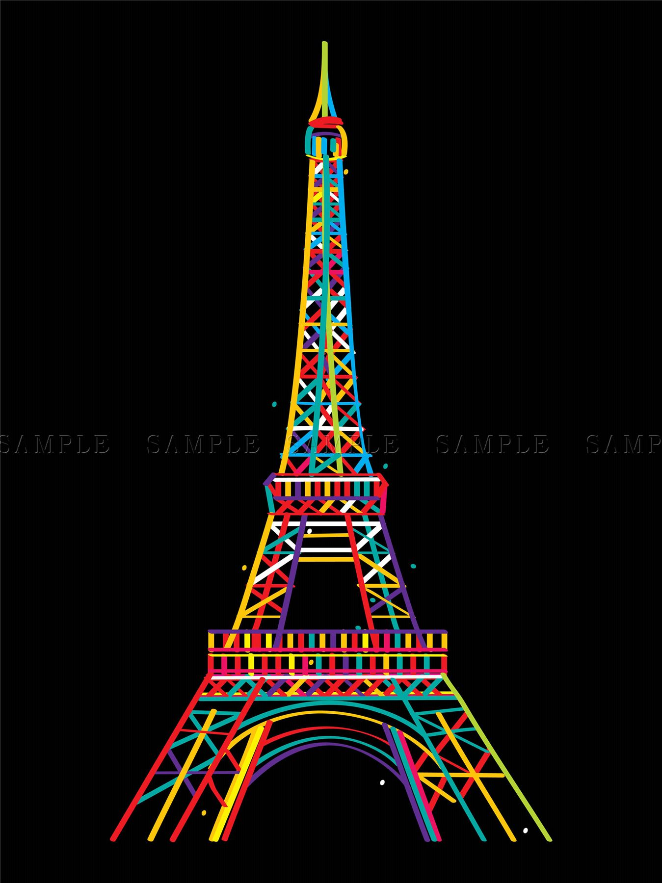 peinture dessin monument tour eiffel paris couleurs art. Black Bedroom Furniture Sets. Home Design Ideas