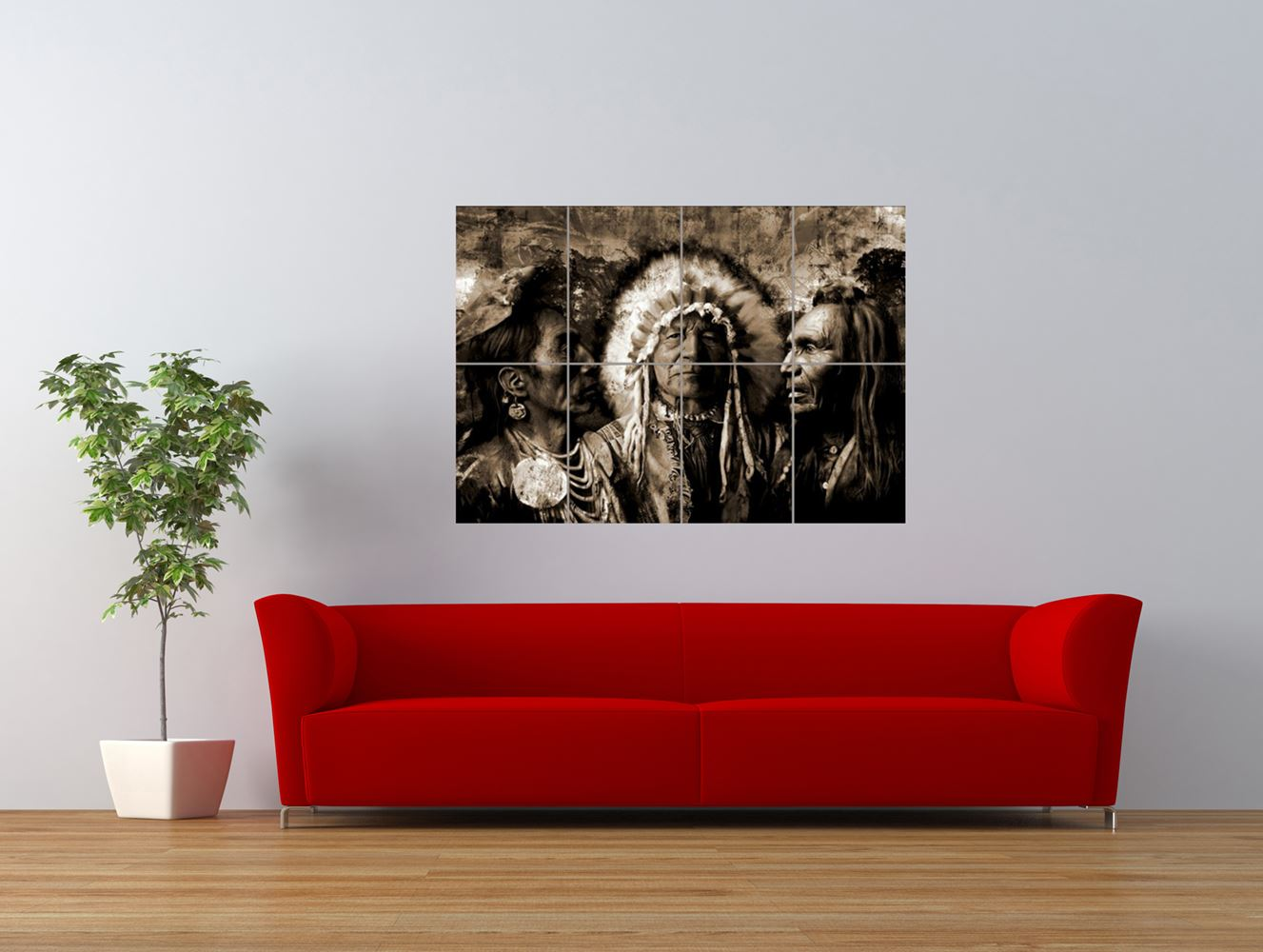 native american indian chief head dress giant art print panel poster nor0614. Black Bedroom Furniture Sets. Home Design Ideas