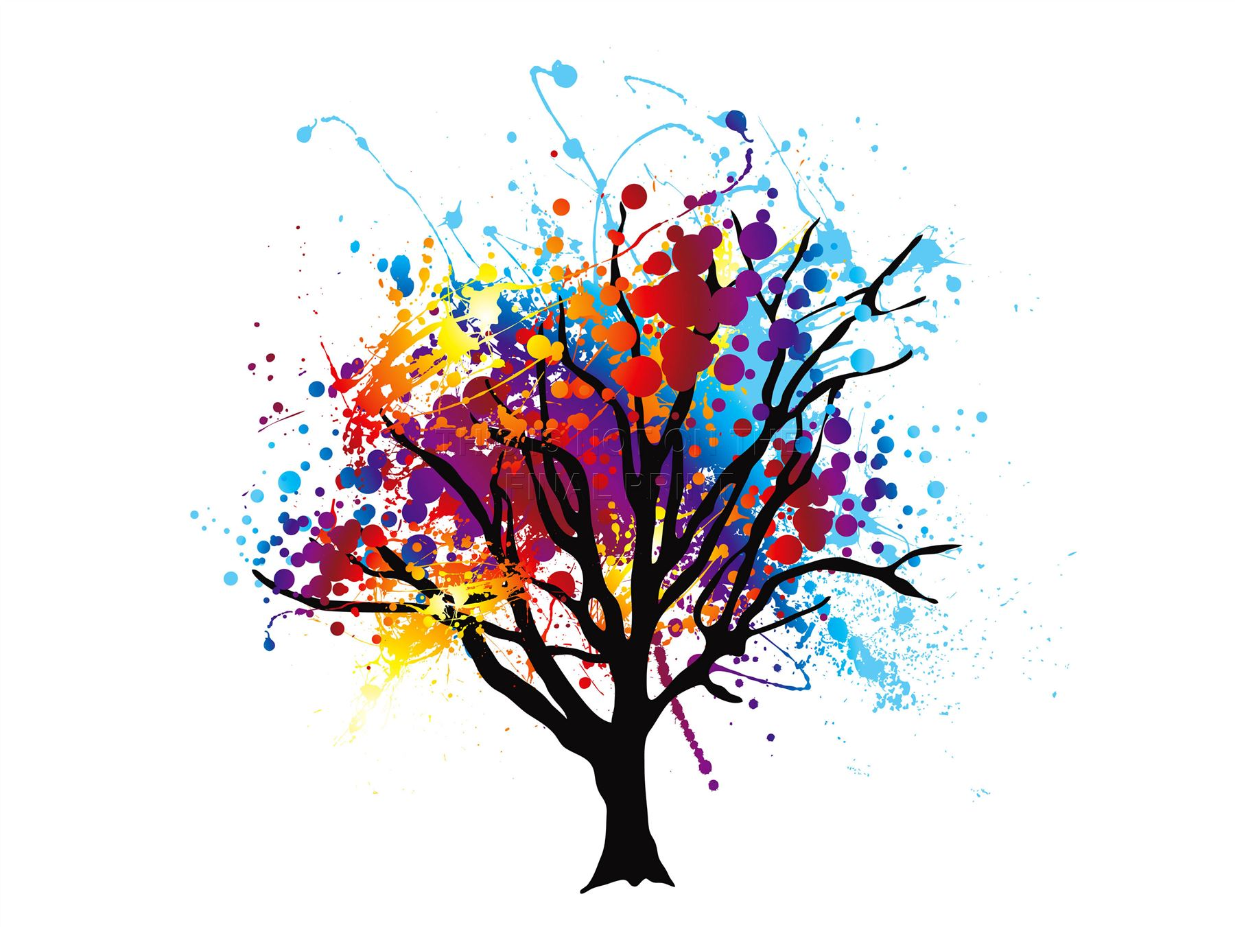 Art Print Poster Painting Drawing Abstract Colourful Tree
