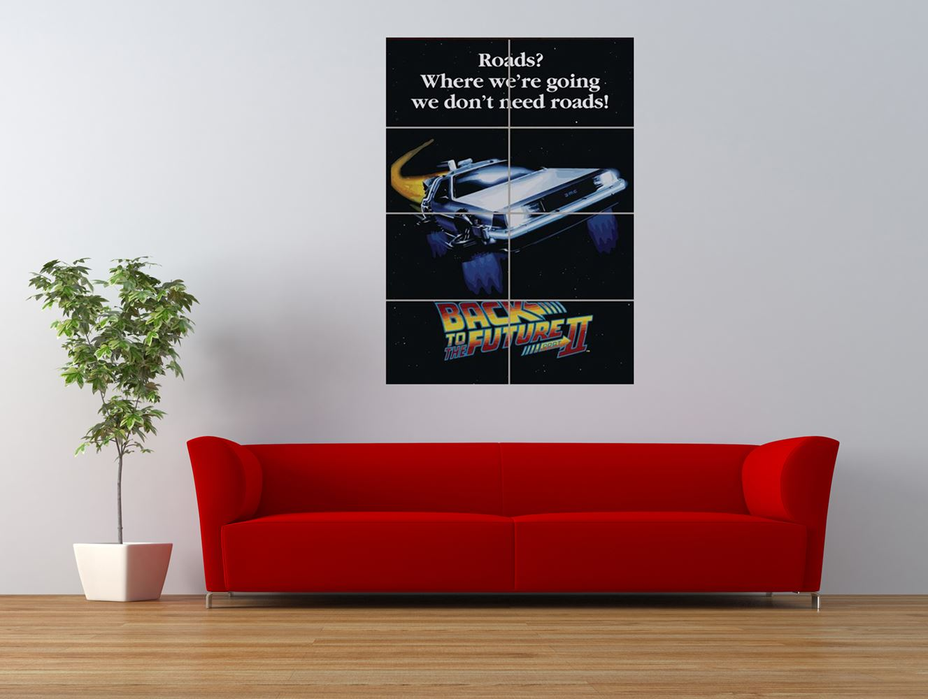 back to the future 2 delorean cult classic giant art print panel poster nor0185 ebay. Black Bedroom Furniture Sets. Home Design Ideas